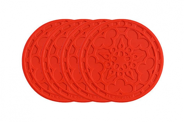 Large image of Le Creuset 4-Pack Cerise French Coasters - FB510-67