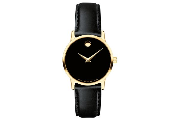 Movado Museum Classic Gold PVD with Black Strap Womens Watch - 0607275