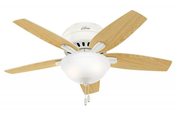 "Large image of Hunter Newsome 42"" Fresh White/Light Oak Low-Profile Ceiling Fan - 51080"