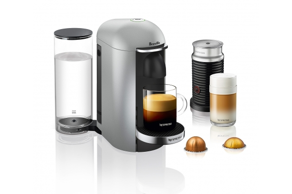 Large image of Breville Nespresso VertuoPlus Silver Espresso Machine Deluxe Bundle - BNV450SIL1BUC1