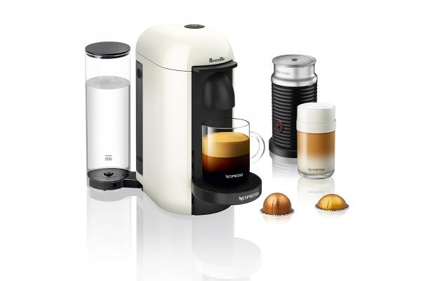 Large image of Breville Nespresso VertuoPlus White Espresso Machine Bundle - BNV450WHT1BUC1