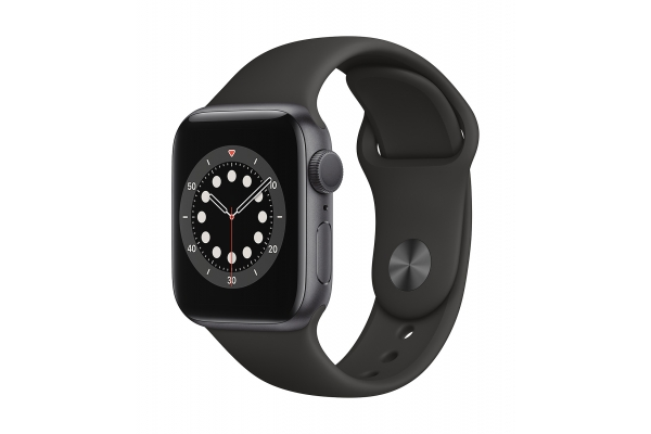 Large image of Apple Watch Series 6 GPS 44mm Space Gray Aluminum Case With Black Sport Band - M00H3LL/A
