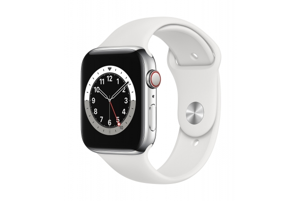 Large image of Apple Watch Series 6 GPS & Cellular 40mm Silver Stainless Steel Case With White Sport Band - M02U3LL/A