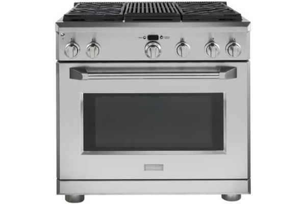 "Monogram 36"" Natural Gas Professional Range With 4 Burners - ZGP364NRRSS"