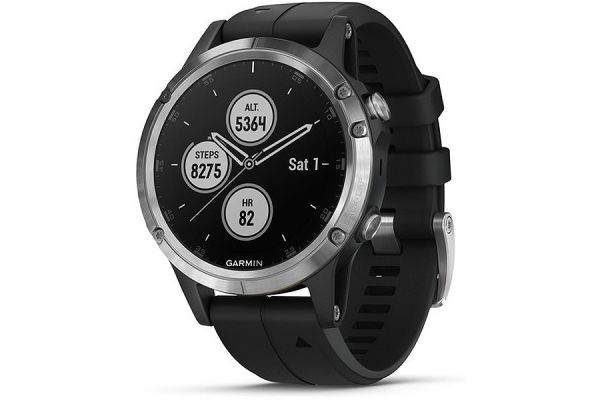 Large image of Garmin 47mm Fenix 5 Plus Silver With Black Band GPS Multisport Smartwatch - 010-01988-10