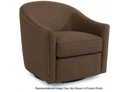 Flexsteel Kedzie Navy Mini Pattern Fabric Swivel Chair - 0110-11-114-40-P