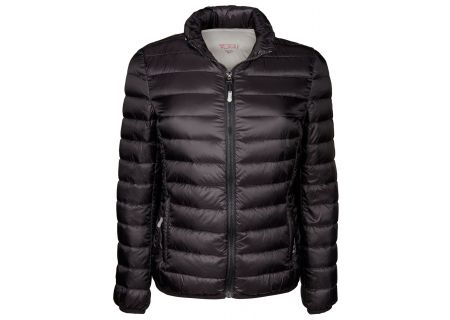 Tumi Large PAX Outerwear Clairmont Packable Travel Puffer Womens Jacket - 15817-BLACK L