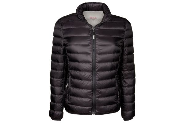 Large image of TUMI Small PAX Outerwear Clairmont Packable Travel Puffer Womens Jacket - 15817-BLACK S