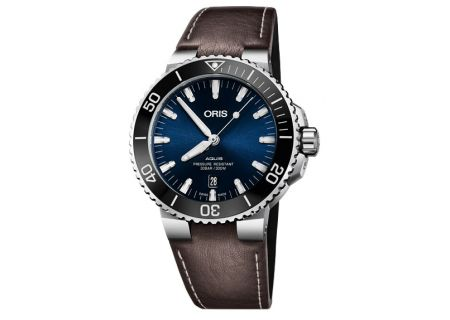 Oris Aquis Date Stainless Steel And Brown Leather Mens Watch - 01 733 7730 4135-07 5 24 10EB
