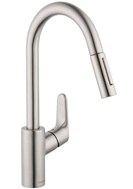 hansgrohe steel focus 2 spray kitchen faucet 04505800. Black Bedroom Furniture Sets. Home Design Ideas