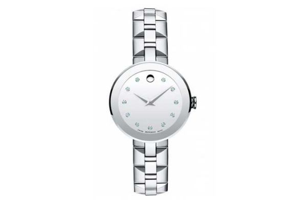Large image of Movado Sapphire Stainless Steel Watch, Silver Mirror Dial, 28mm - 0606814