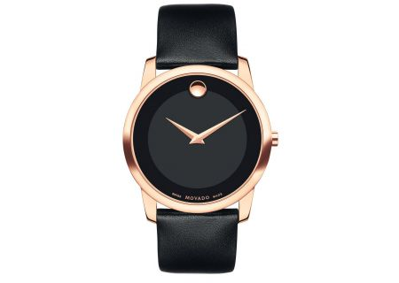 Movado Museum Classic 40mm Rose Gold And Black Leather Womens Watch  - 0607078