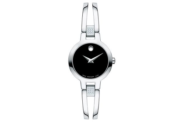 Large image of Movado Amorosa Stainless Steel Diamond Watch, Black Dial, 24mm - 0607154