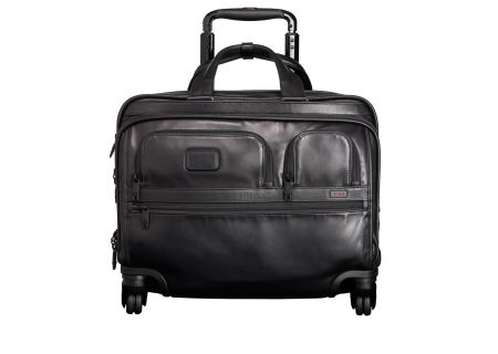 Tumi Alpha 2 Black  Leather 4 Wheeled Delux  Brief With Laptop Case  - 96627 - Black