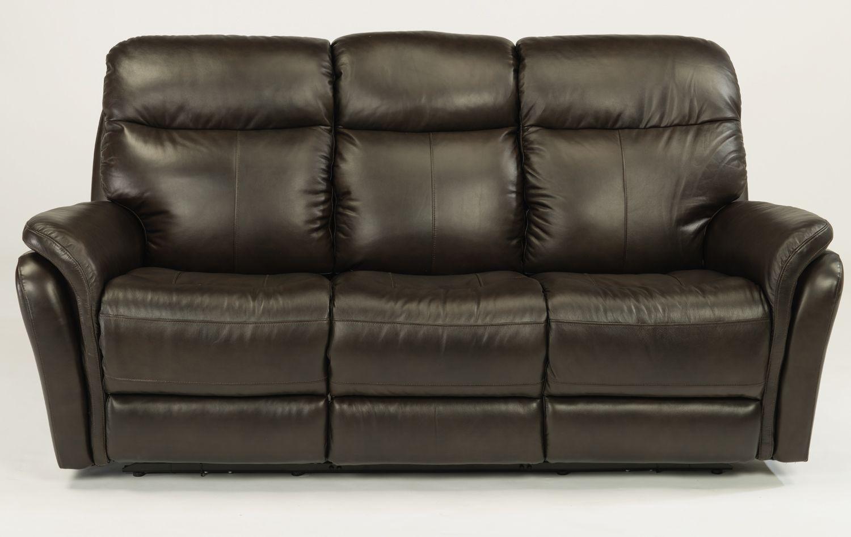 Flexsteel Zoey Dark Brown Leather Reclining Sofa With Headrests 1653 62ph