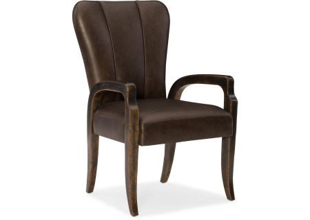Hooker Furniture Dining Room Crafted Leather Arm Chair - 1654-75600-DKW1