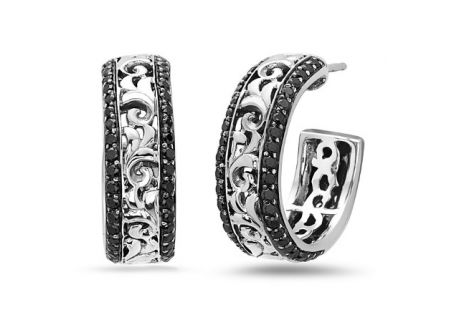 Charles Krypell Ivy Sterling Silver And Black Sapphire Hoop Earrings  -  1-6641-SBS