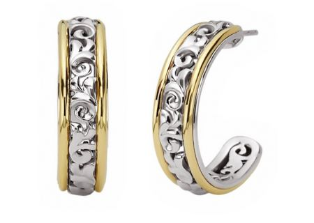 Charles Krypell Ivy Two-Tone Sterling Silver And Gold Hoop Earrings  - 1-6641-SG