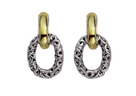 Charles Krypell Ivy Link Two-Tone Sterling Silver And Gold Earrings  - 1-6709-SG