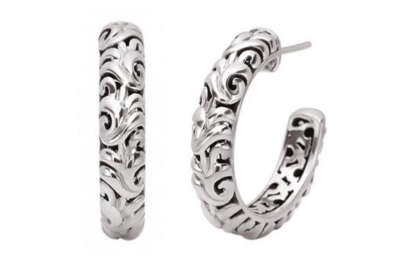 Charles Krypell Ivy Sterling Silver Hoop Earrings - 1-6804-S