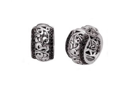 Charles Krypell Ivy Sterling Silver And Black And White Sapphire Earrings  - 1-6852-SBSWS