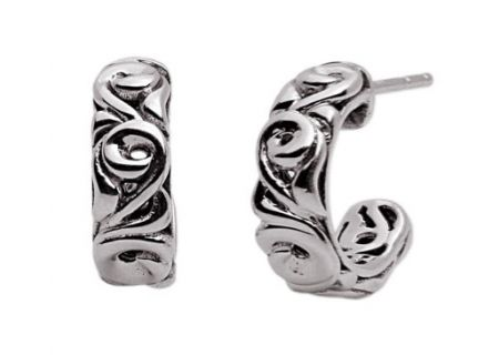 Charles Krypell Ivy Sterling Silver Hoop Earrings  - 1-6854-S