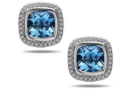 Charles Krypell Ellah Blue Topaz And White Diamond Sterling Silver Earrings - 16882SBTD