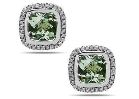 Charles Krypell Ellah Green Amethyst Sterling Silver Earrings - 16882SGAD