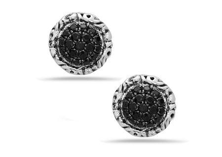 Charles Krypell Black Sapphire Pave Earrings - 16944SBS