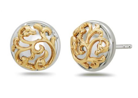 Charles Krypell Ivy Lace Two-Tone Sterling Silver And Gold Earrings  - 1-6971-ILSG