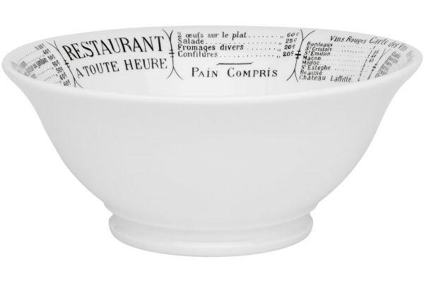 Large image of Pillivuyt Brasserie 2.5 Quart Footed Salad Bowl - 170124BR