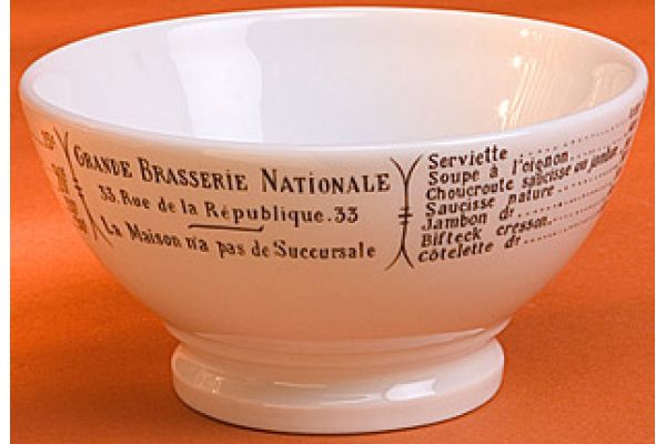 Large image of Pillivuyt Brasserie 13 Oz. Cafe Au Lait Bowl  - 170140BR