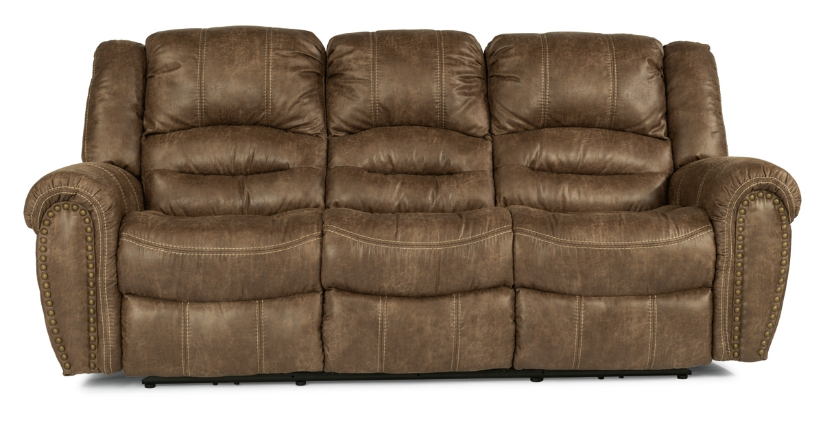 Flexsteel Downtown Light Brown Fabric Reclining Sofa 1710 62p 349 72