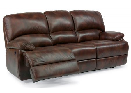 Flexsteel Dylan Dark Brown Leather Power Reclining Sofa With Chaise Footrests - 1927-63P-908-72