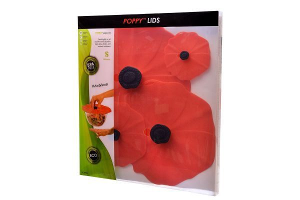 Large image of Charles Viancin 4-Piece Poppy Gift Set Air-Tight Silicone Lid - 2998
