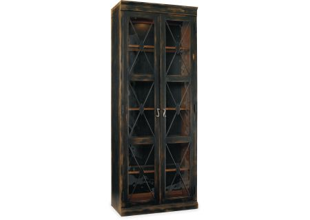 Hooker Furniture Living Room Sanctuary Two-Door Thin Display Cabinet Ebony - 3005-50001