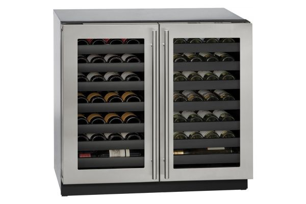 "Large image of U-Line 36"" 3000 Series Stainless Frame Dual-Zone Wine Refrigerator - U-3036WCWCS-00B"
