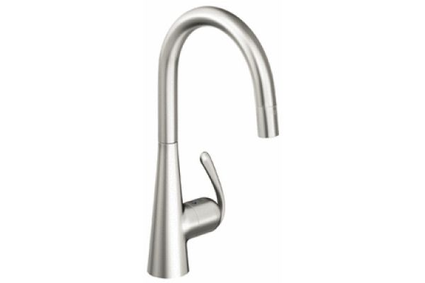 GROHE Ladylux 3 RealSteel Stainless Steel Dual Spray Pull Down Kitchen Faucet - 32226 SD0
