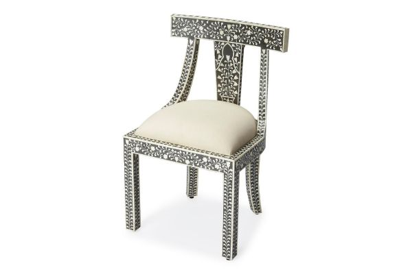 Large image of Butler Specialty Company Victorian Black Bone Inlay Chair - 3557318