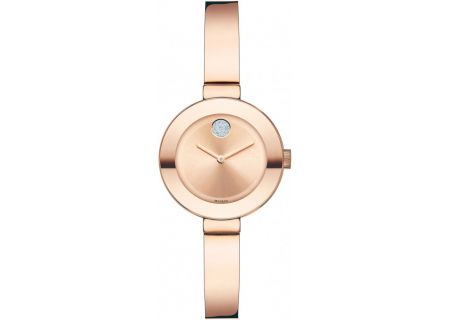 Movado Bold Stainless Steel Rose Gold Ladies Watch - 3600286