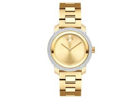 Movado BOLD Diamond 30mm Yellow Gold Womens Watch - 3600440