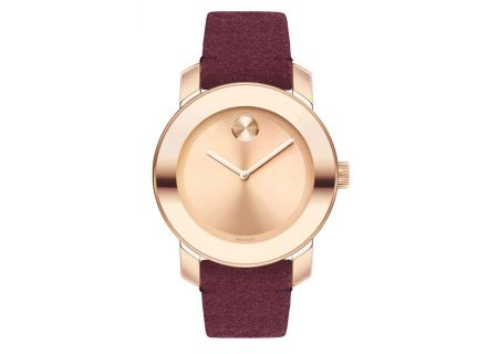 Movado BOLD  36mm Rose Gold And Red Suede Watch  - 3600447