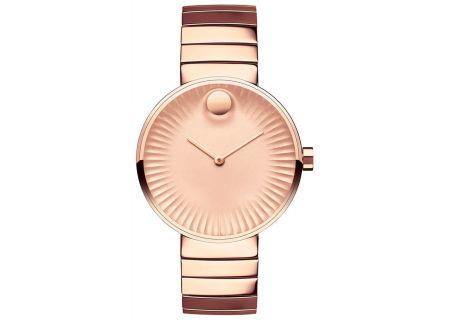 Movado Edge Rose Gold-Toned Aluminum Dial Swiss Quartz Chronograph Womens Watch - 3680013