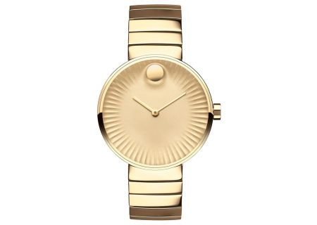 Movado Edge Yellow Gold-Toned Aluminum Dial Swiss Quartz Chronograph Womens Watch - 3680014