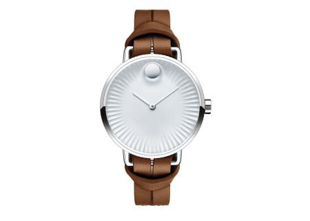 Movado Edge 34mm Stainless Steel And Brown Leather Womens Watch  - 3680035