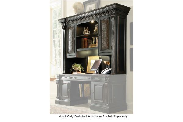 Large image of Hooker Furniture Black Home Office Telluride Computer Credenza Hutch - 370-10-467