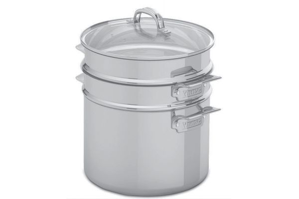 Large image of Viking Stainless Steel 3-Ply Mirror 8 Qt Multi-Cooker, Pasta Pot And Steamer  Insert - 40136008