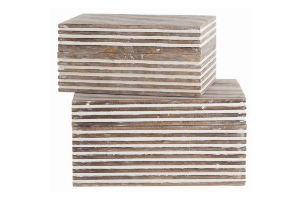 Large image of Arteriors Trinity Whitewashed Wood Set Of 2 Small Boxes - 4296