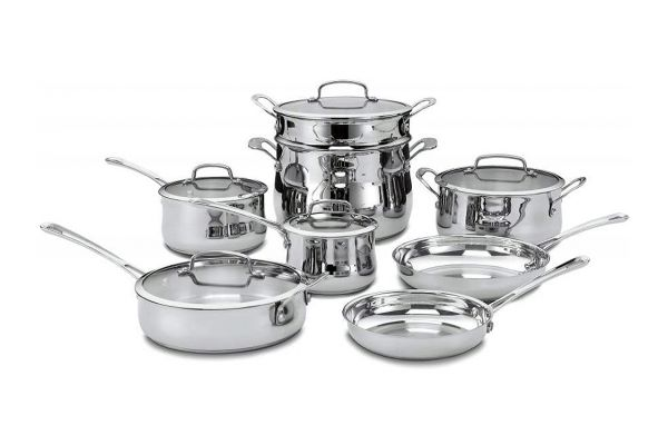 Large image of Cuisinart Contour Stainless Steel 13 Piece Cookware Set - 44-13