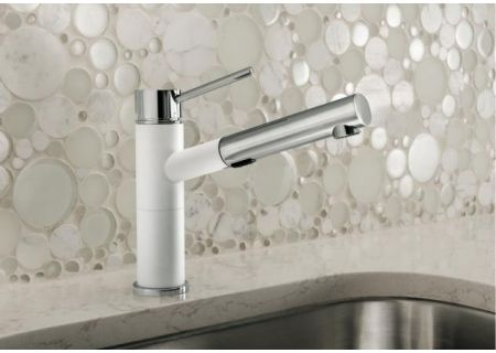 Blanco ALTA SILGRANIT Compact Chrome And White Pull-Out Dual Spray Faucet - 441491
